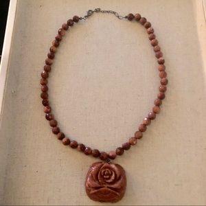 Rose Carved Shimmer Gold Necklace